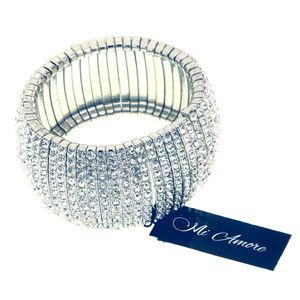 NEW Silver Crystal Bling Stretch Bracelet